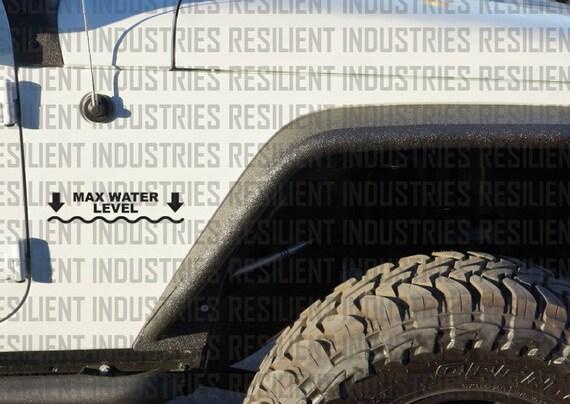 Max Water Level Vinyl Decal Sticker Jeep 4x4 Wrangler CJ YJ TJ JK Rubicon funny