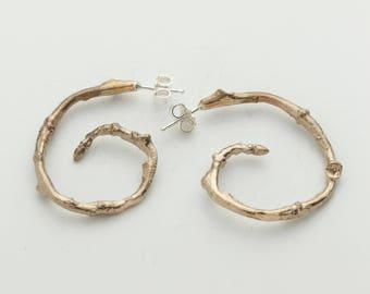 Spiral Twig Hoop Earrings