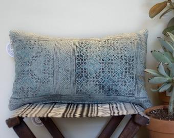 Vintage hmong hemp woven lumbar pillow