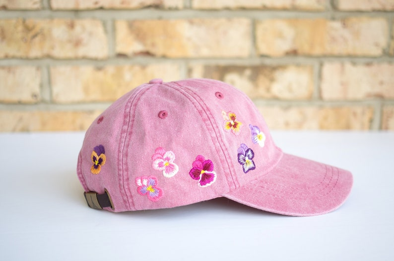 Floral embroidered hat Pansy Embroidered Baseball Cap