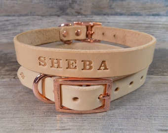 Leather Dog Collar, Off White, Rose Gold Copper Buckle, Dog Collar with FREE Name, Pick Your Font