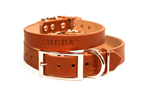 Magenta Purple Leather Copper  Rose Gold Tone Buckle Personalized Leather Dog Collar with FREE Name Pick Your Font