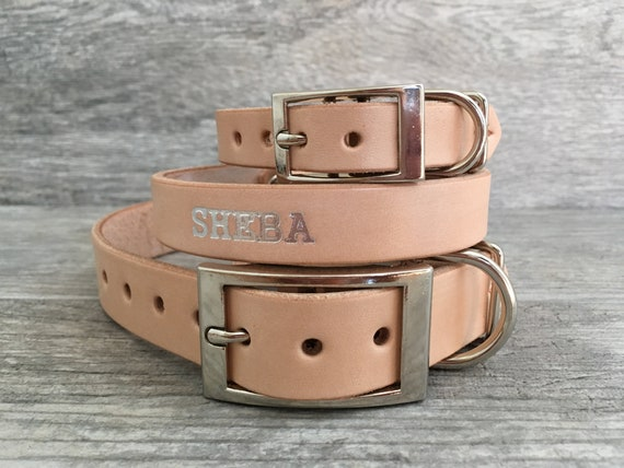 Tone Buckle and FREE Name Personalized Distressed Brown Leather Dog Collar with Rose Gold