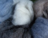 Natural Fiber Sampler - Five 1 ounce handspinning wool, llama, and mohair rovings