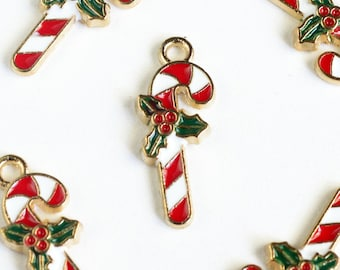 Enamel Candy Cane Charms, Colorful Holiday Charms, Gold Toned, 19mm x 8mm - 5 pieces (1341)