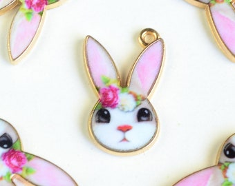 Rabbit Face Charms, Pink Printed Bunny Gold Toned Metal, 19mm x 12mm - 4 pieces (1350)