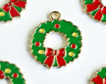 Enamel Wreath Charm, Colorful Holiday Wreath Pendant, Gold Toned, 20mm x 18mm - 4 pieces (1342)