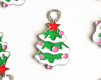 Colorful Christmas Tree Charms, Enamel, Antique Silver Tone, 26mm x 15mm - 4 pieces (872)