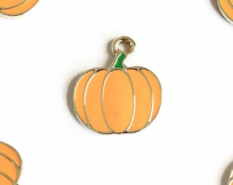Pumpkin Charms, Gold Toned Enamel, 19mm x 16mm - 4 pieces (868)