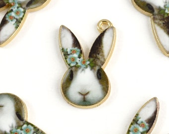 Rabbit Face Charms, Colorful Realistic Printed Bunny Gold Toned Metal, 19mm x 12mm - 4 pieces (1086)