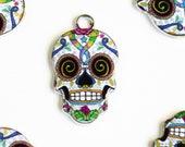 Skull Charm, Colorful Sugar Skull Pendant, 22mm x 13mm - 4 pieces (970)