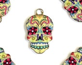 Skull Charm, Colorful Sugar Skull Pendant, 22mm x 13mm - 4 pieces (969)