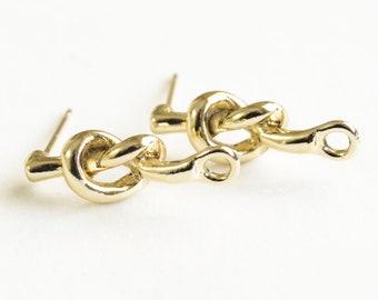 Knot Stud Earrings, Gold Tone, 20mm x 5mm - 2 Pair (F206)