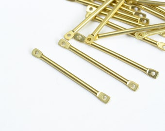 EC086-RG Jewelry Craft Supply Polished Rose Gold Plated over Brass   4 Pcs Bar Brass Connector