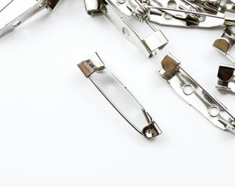 Silver Bar Pins, Brooch Bars, 25mm Pin Backs,  Metal Brooch, Bar Pinbacks, Safety Pin Badge Fasteners - 20 pieces (FS030)