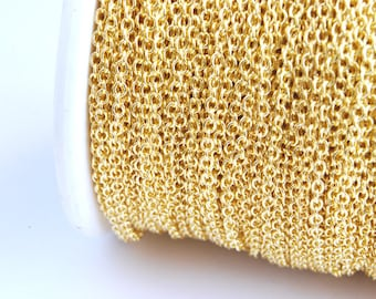 Gold Plated Cable Chain, Soldered, 2 mm x 1.5 mm links - 16 feet (G215-001)