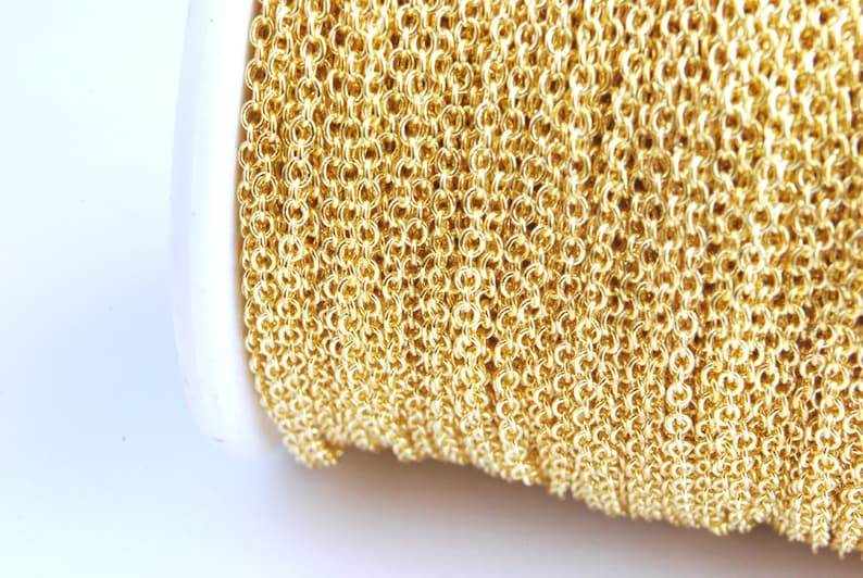 Gold Plated Cable Chain Soldered 2 mm x 1.5 mm links  15 image 0