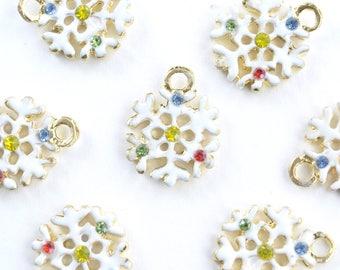 White Snowflake Charm, Enamel Snowflake Pendant, Rhinestone Charms, 16mm - 5 pieces (226G)