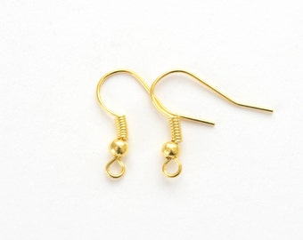 Gold Earhooks Gold Plated Earring Hooks - 50 pieces (25 pair)