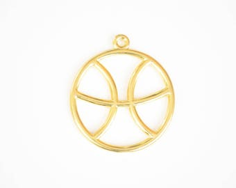 Pisces Charm, Gold Pisces Zodiac Pendant, Round Horoscope Charm (206G)