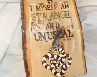 Strange and Unusual Lydia Deetz Beetlejuice home decor woodburned painted sign