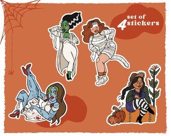 Pinuptober set of 4 stickers - spooky halloween retro pinup art
