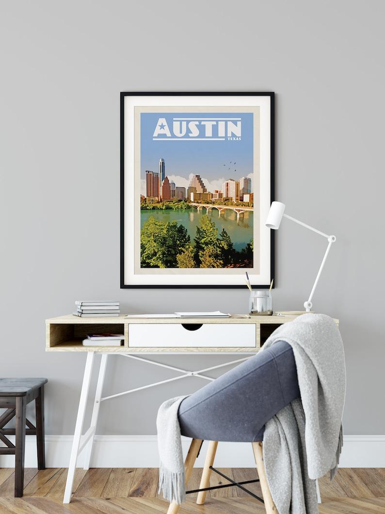 Texas Wall Art ACL Poster Austin Texas Wall Art Austin Skyline Austin Texas Print Texas Poster