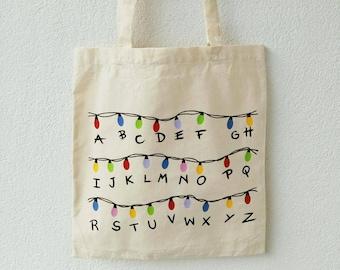 Stranger Things lights handmade Tote bag, customizable Tote Bag, canvas tote bag, custom tote bag