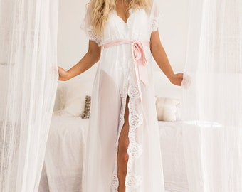 Farrah Robe    Bridal Robe    Long Bridal Robe    Chiffon Lace Robe 9aac6207b