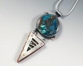 Azurite necklace, steampunk necklace, diamond necklace, Mixed metal azurite necklace, Azurite pendant, gear necklace, gift