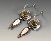 Unakite earrings, Unakite jewelry, Mixed metal jewelry, Mixed metal earrings, etched copper earrings, Riveted earrings, gift