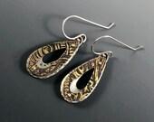 Etched brass earrings, brass earrings, mixed metal layered earrings, mixed metal earrings, layered earrings, teardrop shaped earrings, Gift
