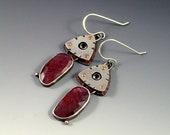 Pink Sapphire Earrings, Red Garnet Earrings, Multi Stone Earrings, Mixed Metal Earrings, Sapphire Statement Earrings, Pink Red Earrings