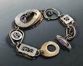 Amethyst Bracelet, Mixed metal Amethyst Bracelet, Art Deco Amethyst Bracelet, Art Deco Bracelet, Statement Bracelet, Riveted Bracelet