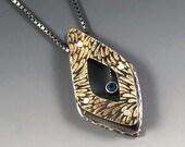 London blue topaz necklace, Blue topaz necklace, topaz necklace, etched brass necklace, blue topaz pendant, Mixed metal necklace, metal