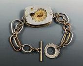 Ammonite Bracelet, Fossil Bracelet, Citrine Bracelet, Mixed metal ammonite bracelet, Mixed metal fossil bracelet, Mixed metal bracelet,