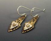Mixed Metal Earrings, Etched Brass Layered Earrings, Brass Etched, Brass Earrings, Dangle Earrings, Metalwork, Metal Earrings, Handmade