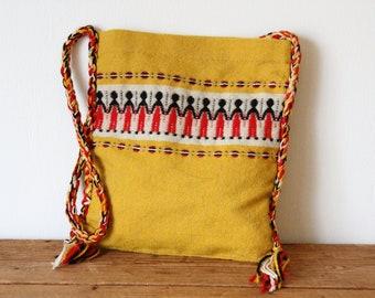 ce31c6d3da2 Boho Woven Crossbody Bag   1970s Hippie Carpet Bag   Boho Yellow Woven Purse  120218-32