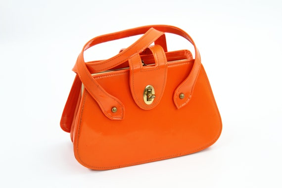 1960s Orange Vinyl Mod Handbag