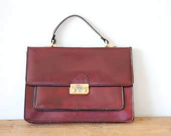 Vintage Burgundy Leather Mini Briefcase/ Leather Satchel Handbag / Small Briefcase Purse 100215