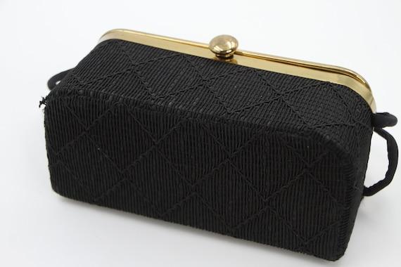 Black Satin Bag Black Satin Box Bag 90s Minimal Woven Satin Corded Strap Crossbody Bag Purse Handbag Satchel