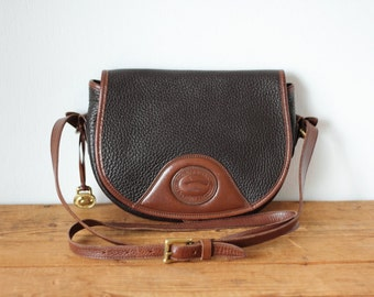 Vintage DOONEY & BOURKE Flap Snap Saddle Bag AWL Black Brown Leather Purse/ All-Weather Leather Dooney and Bourke Messenger 050117