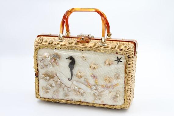 Wicker Seashell Basket Purse / Embellished Straw B