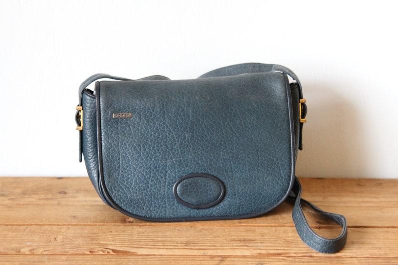 760c4cf6f766e KORET Blue Leather Shoulder Bag / Koret Pebble Leather Purse / Vintage  Koret Handbag 121518-34