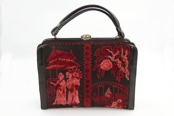 1950s 60s Asian Tapestry Handbag / Japanese Carpet