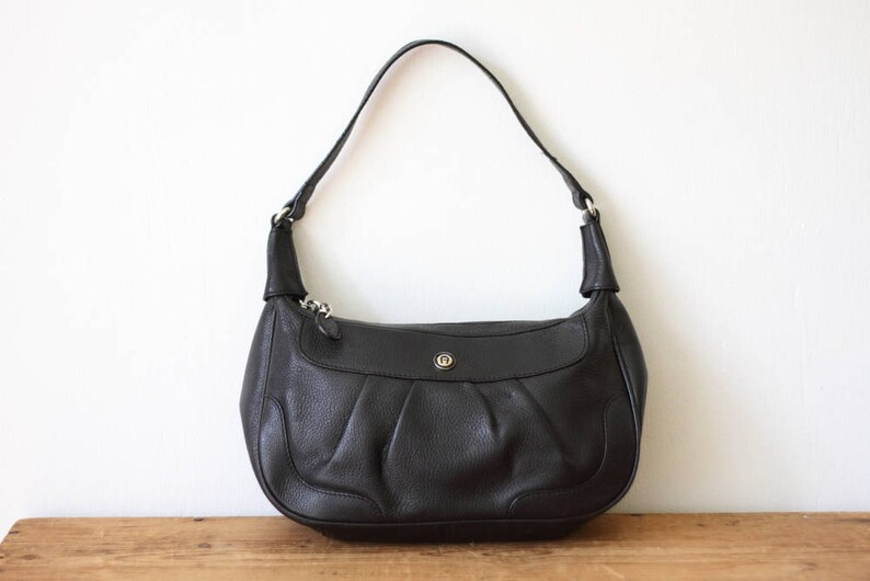 e941312dfd Vintage ETIENNE AIGNER Black Leather Hobo Handbag   Black