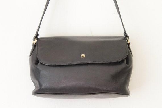 2b8744f7f6b11 Vintage ETIENNE AIGNER Navy Leather Shoulder Bag / Dark Blue Leather  Handbag / Etienne Aigner Purse 092218-30