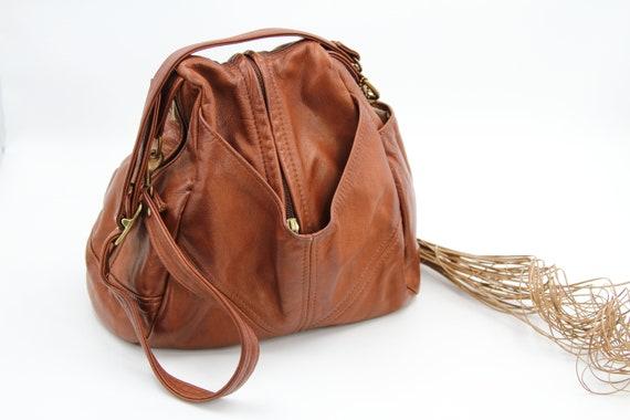 Cognac Leather Sling Crossbody Bag / Victoria Leat