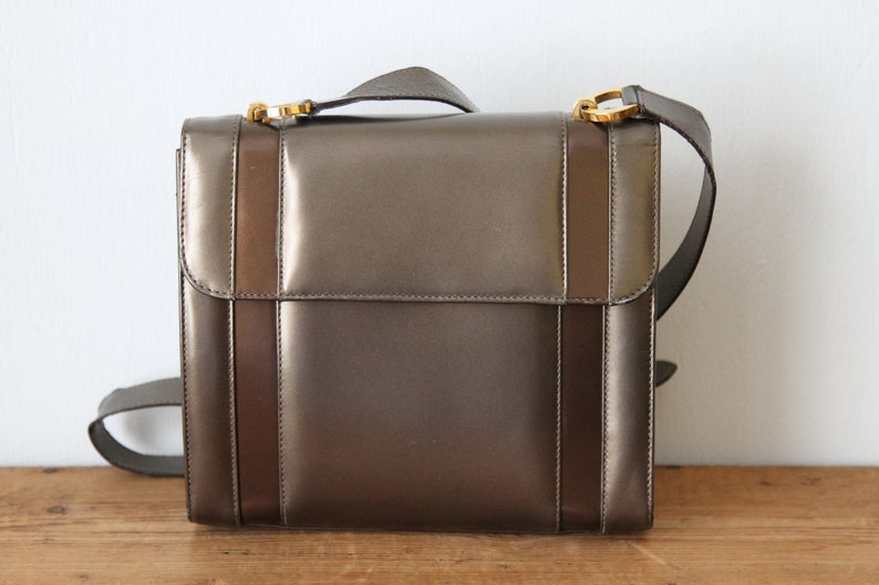 c7050da3e8 ... Gancini hand bag Brown Goxip Source · Vintage SALVATORE FERRAGAMO  Bronze Metallic Handbag Gunmetal Etsy