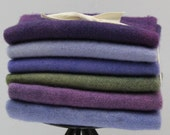 Delphiniums Fat Sixteenth Six Pack of Hand-dyed Wool for Rug Hooking Wool Applique Quilts